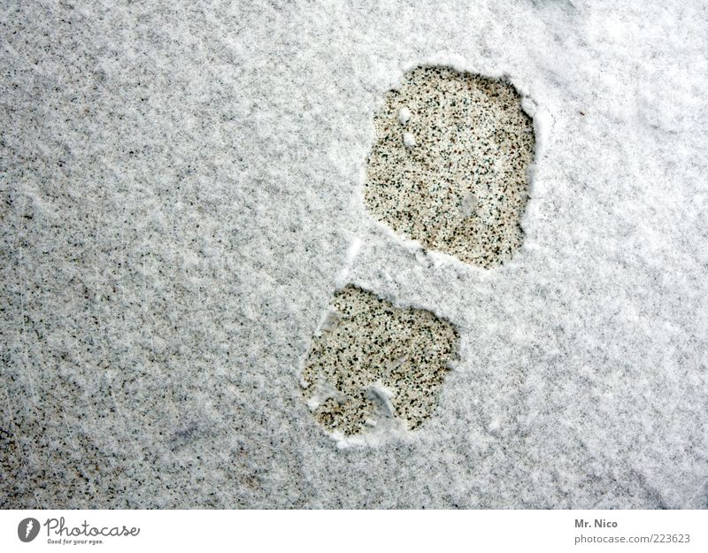 shoe size 42 Earth Winter Snow Cold Footprint Ice Seasons Walking Imprint Tracks Right Bird's-eye view Deserted Exterior shot Snow track Copy Space left