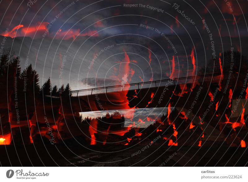 Sky Blue Red Far-off places Black Dark Lanes & trails Warmth Fear Elegant Fire Esthetic Bridge Dangerous Threat Transience