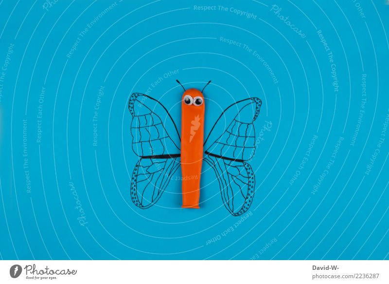 butterfly Lifestyle Leisure and hobbies Playing Handicraft Infancy Art Work of art Animal Butterfly Wing 1 Observe Drawing Balloon Eyes Orange Creativity Idea