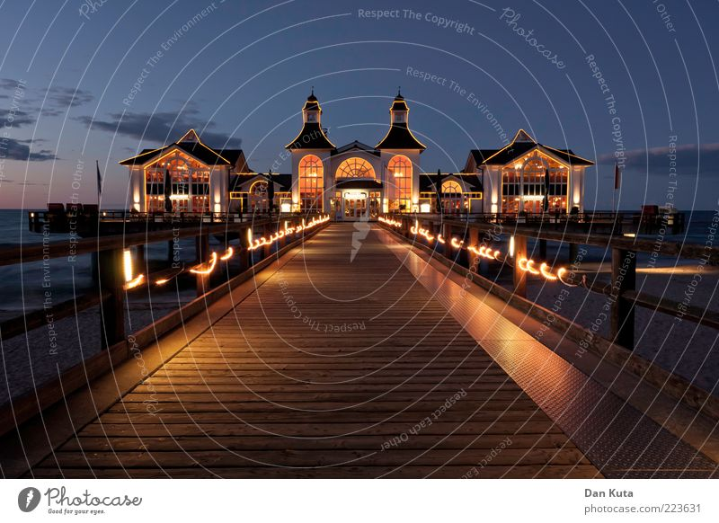 Blue Far-off places House (Residential Structure) Yellow Wood Dream Building Lighting Horizon Gold Stairs Decoration Clean Rügen Village Illuminate