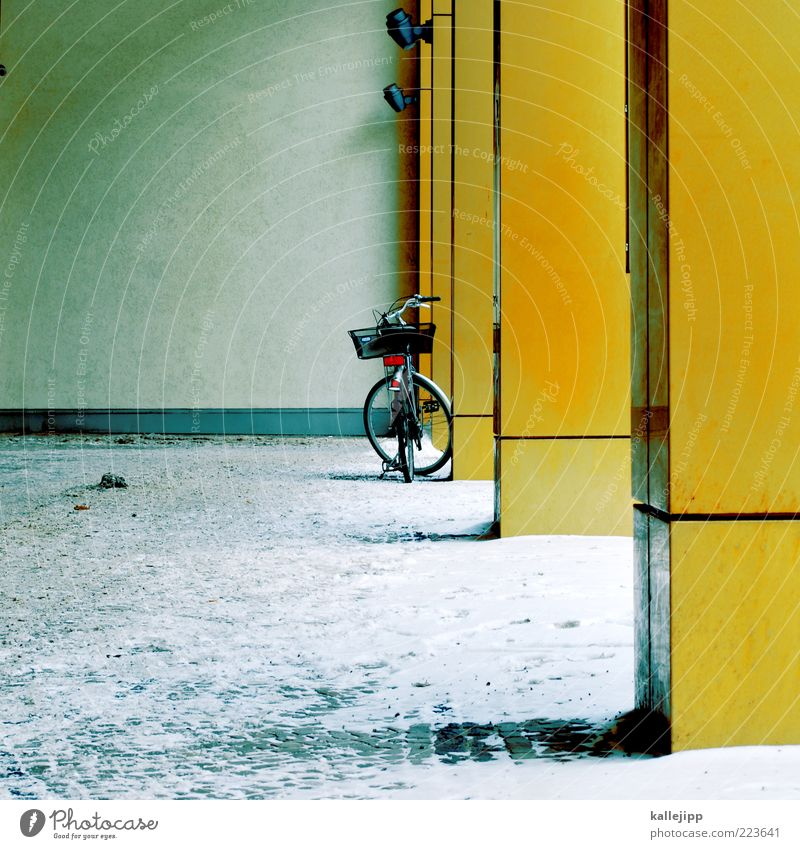oracular House (Residential Structure) Wall (barrier) Wall (building) Bicycle Yellow Gold Winter bicycle basket Column Snowdrift Colour photo Exterior shot