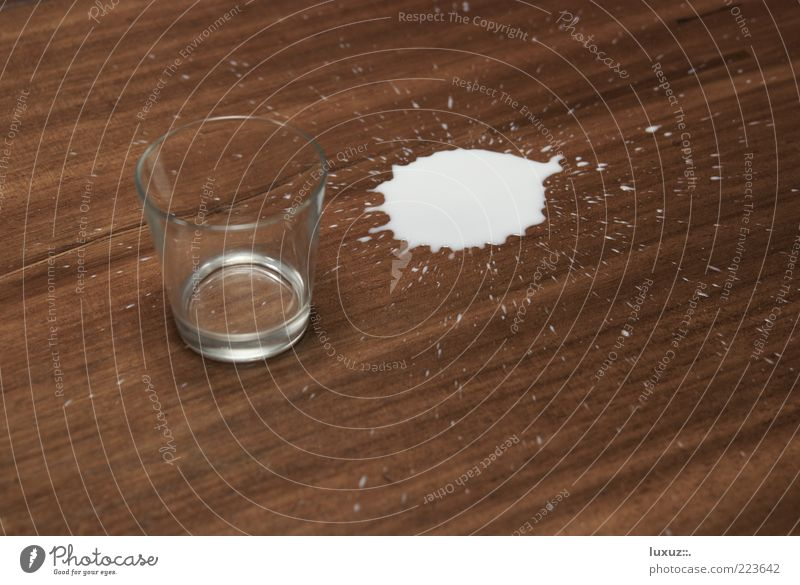 Half full or half empty? Milk Daub Glass Drop Spill Clumsy Error Thirsty Empty Full Patch Beverage Lose Neutral Background Wood Side Inject Copy Space bottom