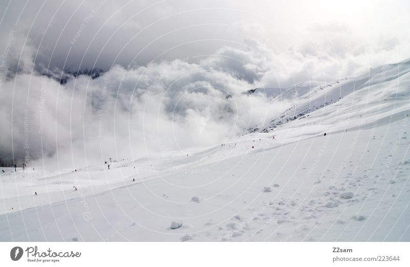 white in white Vacation & Travel Winter Mountain Environment Nature Landscape Sky Clouds Bad weather Esthetic Gigantic Infinity Blue Gray Calm Idyll Perspective
