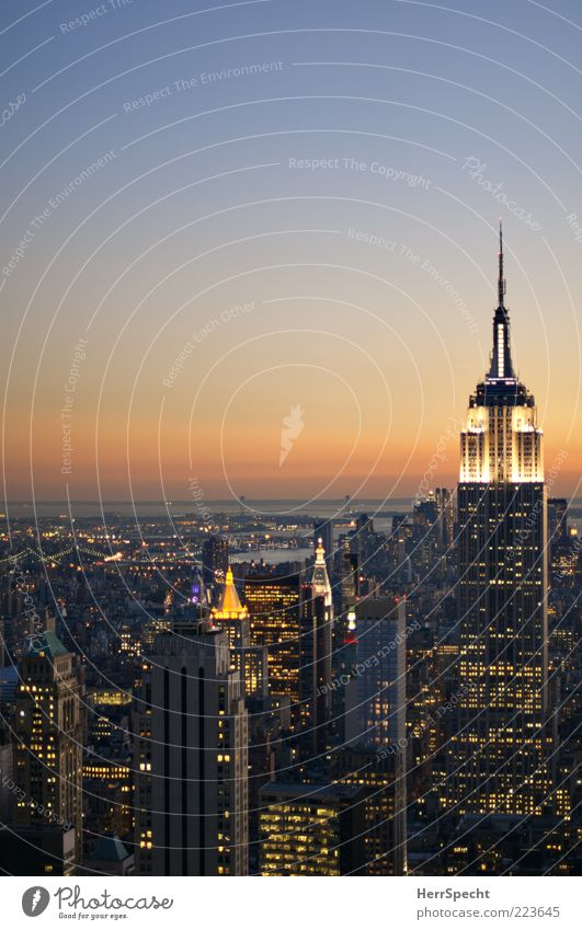 City Far-off places Building Lighting High-rise USA Skyline Landmark Dusk New York City Tourist Attraction Manhattan Empire State building Sea of light Lure of the big city