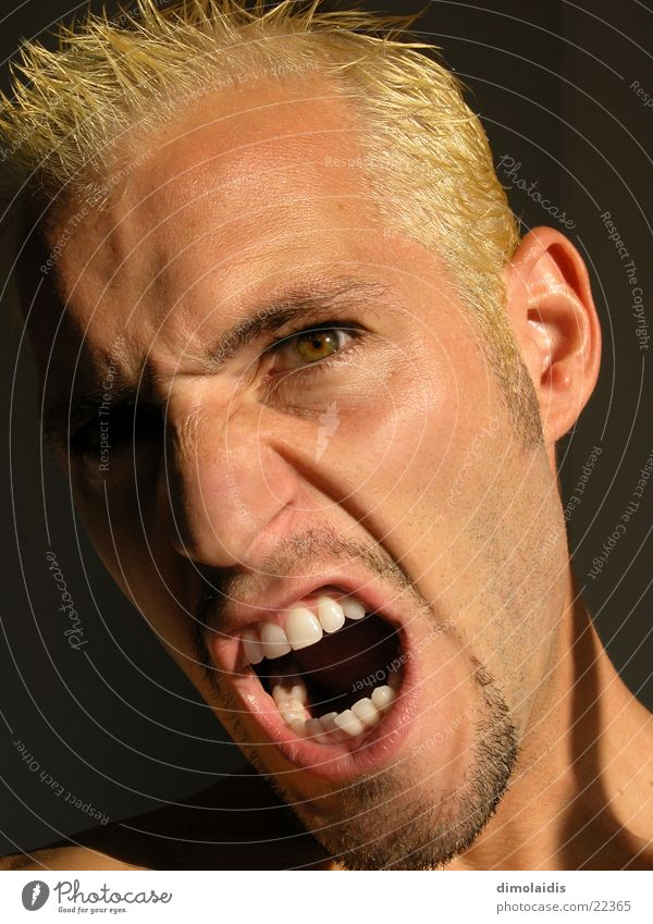 Man Eyes Head Mouth Blonde Nose Teeth Anger Scream Facial hair Aggravation