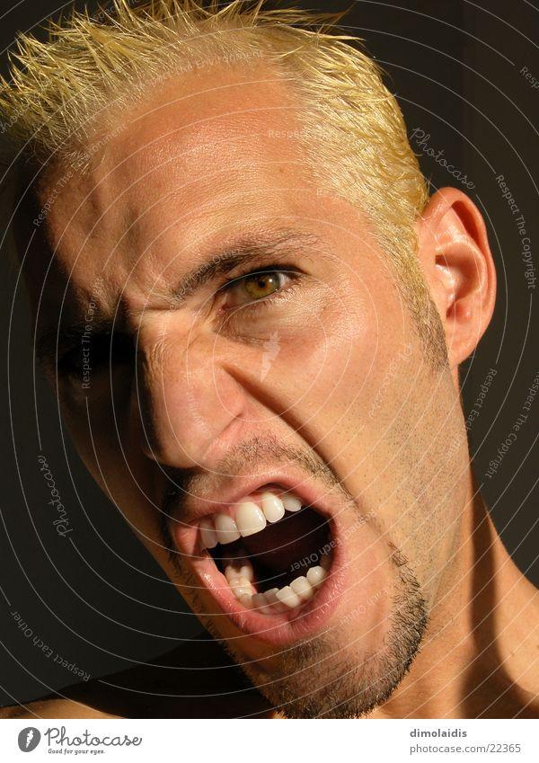 Man Eyes Head Mouth Blonde Nose Teeth Anger Scream Facial hair Aggravation