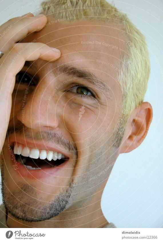 me Blonde Fingers Hand Portrait photograph Nordic Man Human being Head Eyes Nose Mouth Laughter Face Teeth