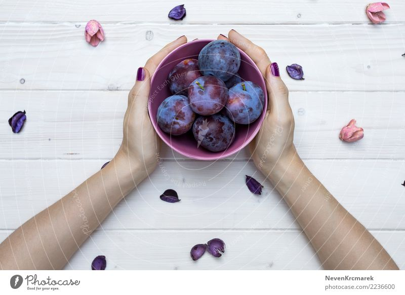 Female hands holding a bowl of plums Food Fruit Plum Nutrition Eating Breakfast Lunch Dinner Organic produce Diet Bowl Pot Cup Mug Healthy Healthy Eating Table