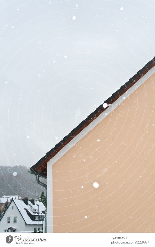 The snow trickles quietly Environment Weather Bad weather Ice Frost Snow Snowfall Small Town House (Residential Structure) Detached house Wall (barrier)