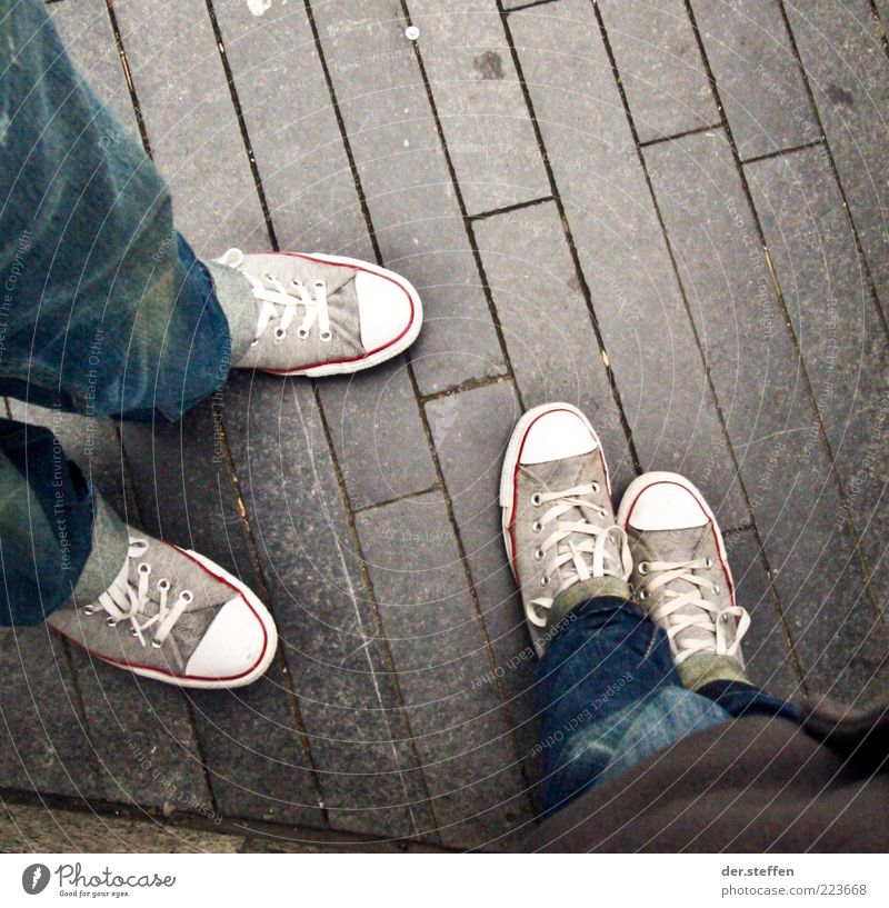 Human being Vacation & Travel Youth (Young adults) Blue 18 - 30 years Adults To talk Gray Legs Feet Tourism Stand Footwear Floor covering Cool (slang) Thin