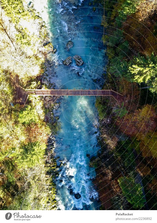 #S# Bridge II Nature Beautiful weather Observe Green River Water Whitewater Current Sun Shadow Aerial photograph Blue Wood Hiking Right ahead Water level