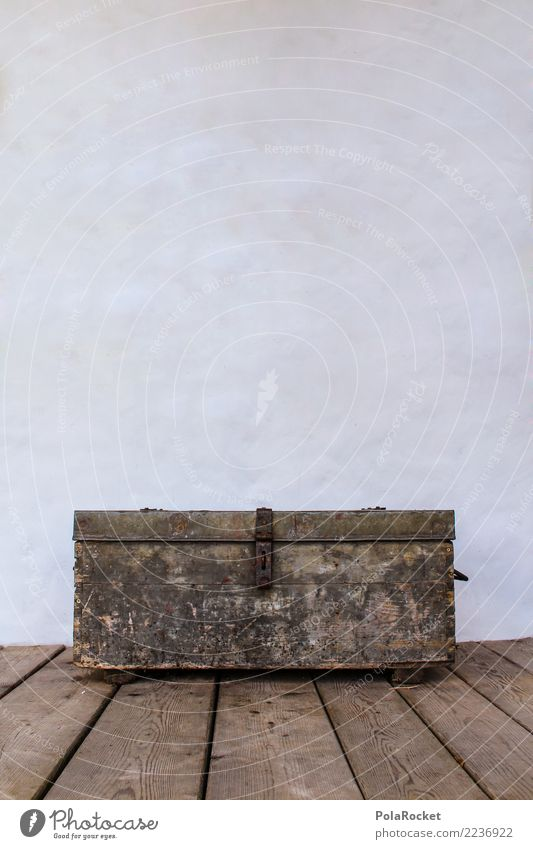 #S# Chest Wood Historic Mysterious Old Lock Dream Treasure Treasure chest Wooden floor White Crate Packaging Rust Colour photo Exterior shot Experimental