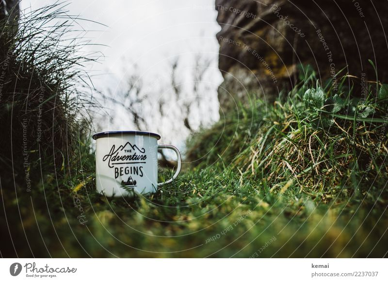 The adventure begins: with a cup of coffee Cup Enamel Lifestyle Leisure and hobbies Trip Adventure Freedom Camping Nature Grass Meadow Wall (barrier)