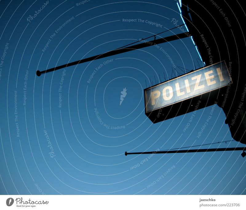 Blue Signs and labeling Characters Safety Protection Sign Force Watchfulness Police Force Blue sky Rod Criminality Responsibility Obedient Neon sign Cloudless sky