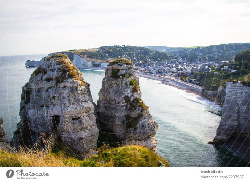 etretat Nature Landscape Water Sky Cloudless sky Summer Beautiful weather Waves Coast Bay North Sea Étretat France Europe Small Town Vacation & Travel