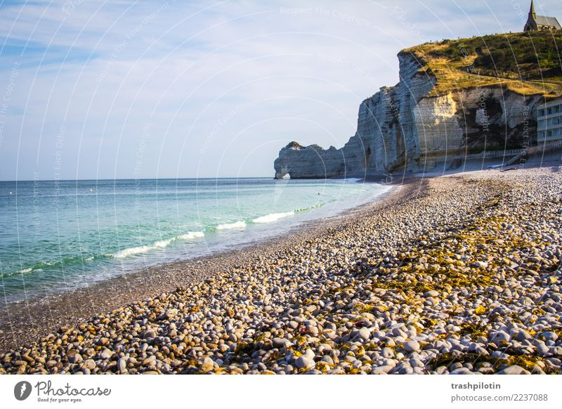 etretat Nature Landscape Air Water Cloudless sky Autumn Beautiful weather Waves Coast Beach Bay North Sea Ocean Étretat France Europe Small Town Port City