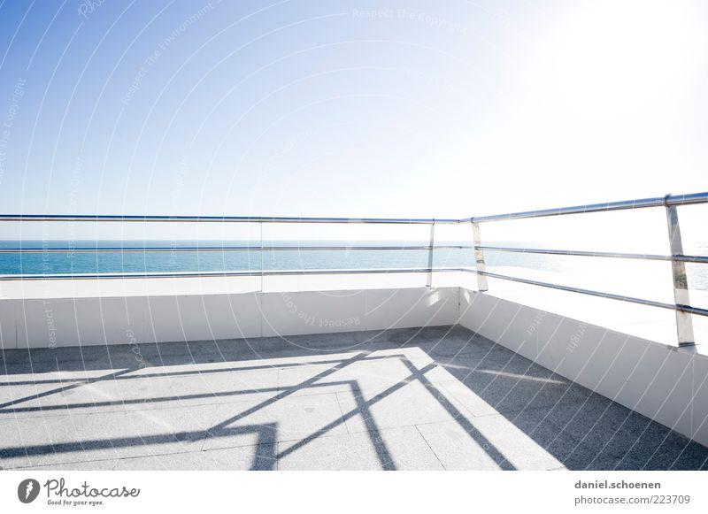 White Blue Sun Summer Ocean Bright Climate Vantage point Spain Handrail Terrace Beautiful weather Blue sky Cloudless sky Costa de la Luz