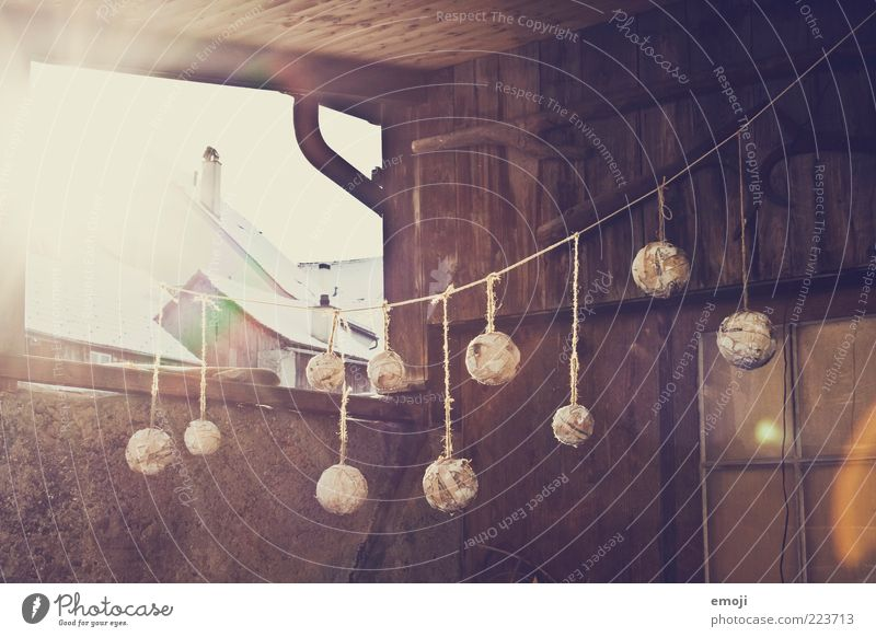 Old House (Residential Structure) Window Decoration Sphere Village Jewellery Hut Hang Morning Sewing thread Hang up Lens flare Shaft of light Building Wooden hut