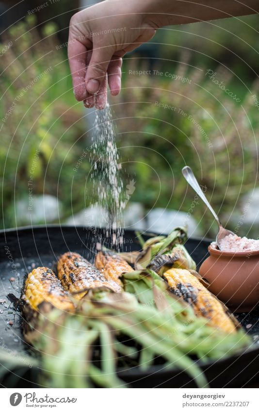 Roasted corn salted. Summer White Yellow Wood Nutrition Vantage point Cooking Vegetable Hot Meal Vegetarian diet Top Rustic Snack Organic BBQ