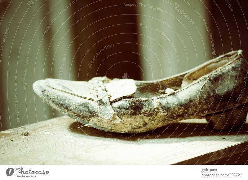 Where's Cinderella? Footwear Old Broken Trashy Blue Brown Decline Past Transience Lose Change Destruction Dusty Doomed High heels Subdued colour Interior shot