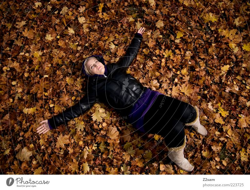Human being Nature Youth (Young adults) Beautiful Leaf Calm Adults Relaxation Environment Autumn Happy Style Dream Fashion Contentment Blonde