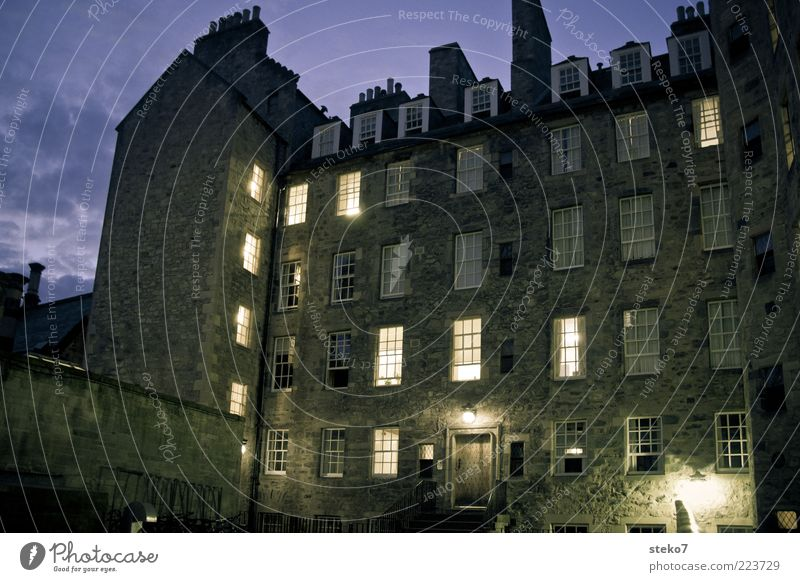 City House (Residential Structure) Dark Window Building Door Lighting Facade Living or residing Illuminate Backyard Night sky Old building Scotland Flare Clouds in the sky