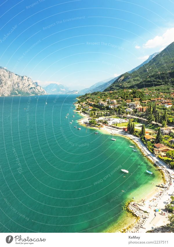 Malcesine at Lake Garda Vacation & Travel Tourism Summer Summer vacation Mountain Nature Landscape Water Sky Sunlight Coast Lakeside Europe Village Small Town