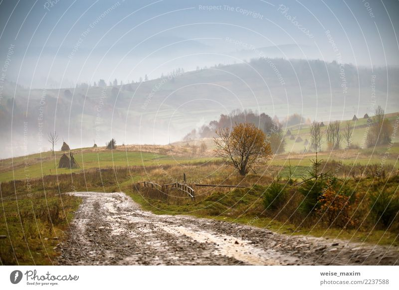 Muddy ground. Country road after rain in mountains. Extreme path Vacation & Travel Mountain Nature Landscape Earth Sky Clouds Autumn Weather Storm Fog Rain Hill