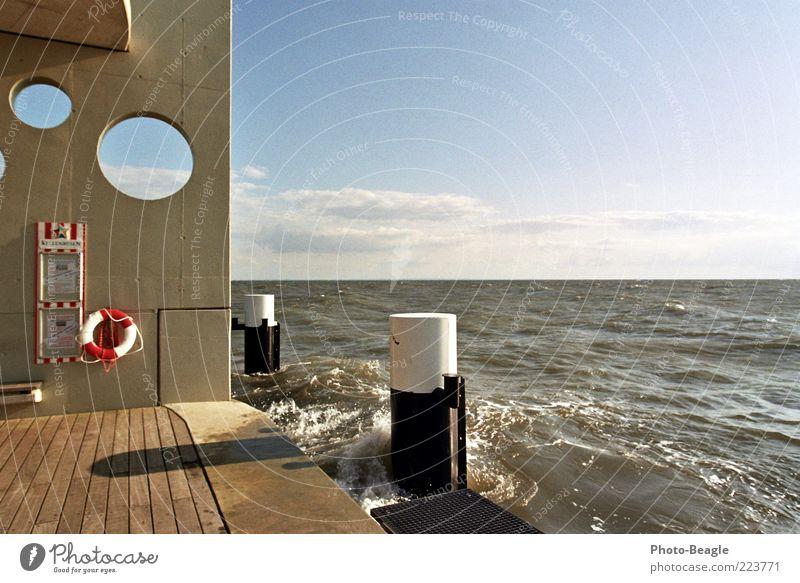 Water Ocean Vacation & Travel Waves Wind Baltic Sea Jetty Germany Surf White crest Life belt Drop anchor Sea water Bridge Action Schleswig-Holstein