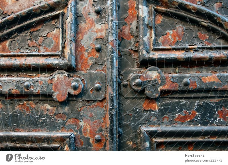 Gateway to eternity Door Metal Old Broken Beautiful Brown Gray Black Rust Metal fitting Closed Paintwork Derelict Iron gate Heavy Massive Safety Colour photo