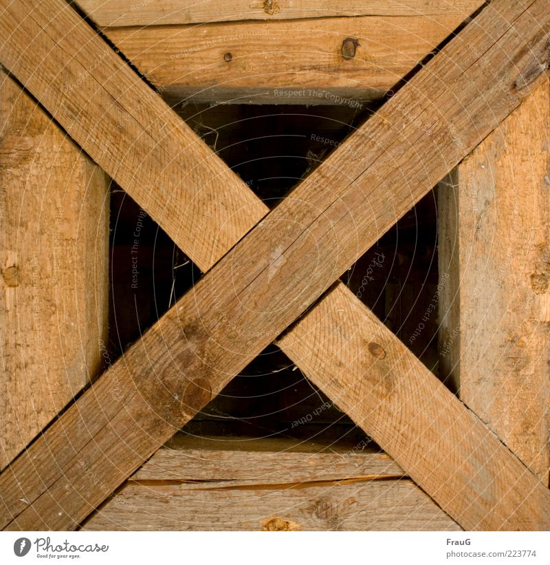 beam cross Craft (trade) Roof Wood Crucifix Old Firm Historic Brown Safety Colour photo Interior shot Day Continuity Worm's-eye view Roof beams