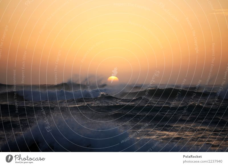 #AS# Stormy sea Art Work of art Esthetic Ocean Waves Swell Undulation Wave action Wellenkuppe Wave trough Gale Sunset Vacation & Travel Summer vacation Diffuse