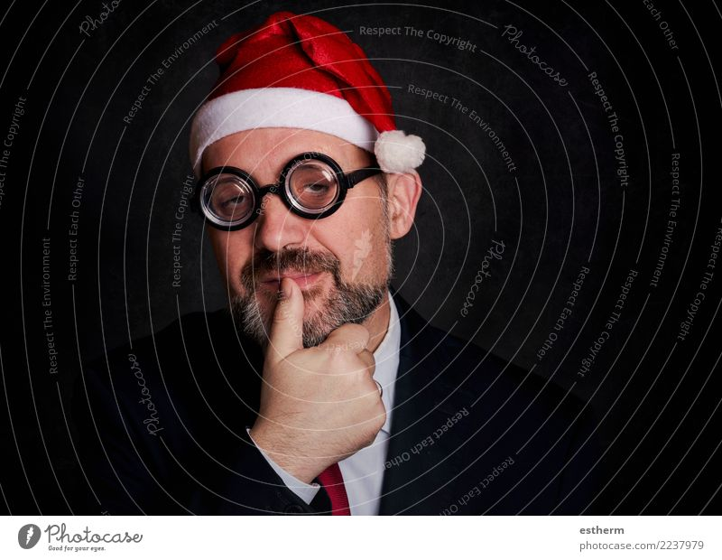 funny man at christmas on black background Human being Youth (Young adults) Man Christmas & Advent Young man Joy Adults Lifestyle Funny Feasts & Celebrations