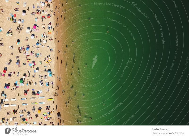 Aerial View Of People Having Fun On Portugal Beach Human being Nature Vacation & Travel Summer Water Sun Landscape Ocean Warmth Lifestyle Environment Coast