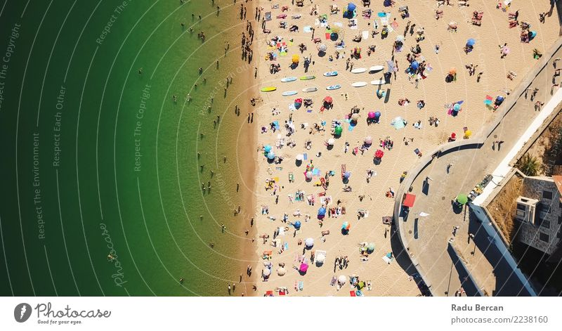 Aerial Summer View Of People Crowd On Cascais Beach Human being Nature Vacation & Travel Colour Green Water Landscape Sun Ocean Yellow Environment Tourism