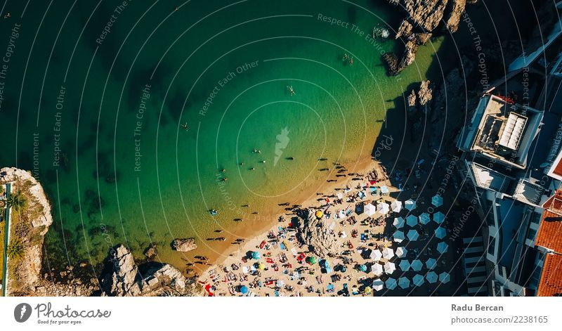 Aerial Fly Over People Crowd Having Fun On Beach Human being Nature Vacation & Travel Summer Beautiful Landscape Sun Ocean Joy Lifestyle Environment Coast