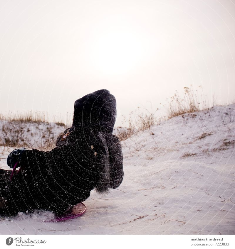 slide tour Leisure and hobbies Sledding Winter sports Human being Masculine Infancy 1 Environment Nature Sky Bad weather Snow Snowfall Grass Bushes Meadow Field