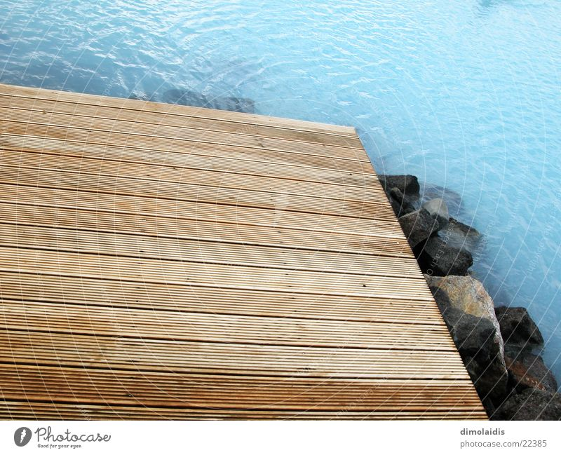 Water Wood Stone Footbridge Iceland Wooden board Azure blue Hot springs Blue Lagoon