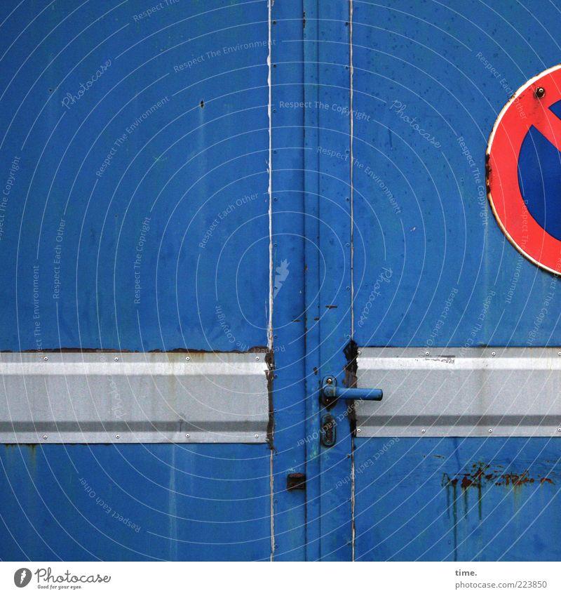 HH10.2 | No Parking Stuff Gate Door Metal Steel Rust Signs and labeling Lock Blue Gray Red Door handle Parallel Swing door Road sign No standing Warehouse Hall