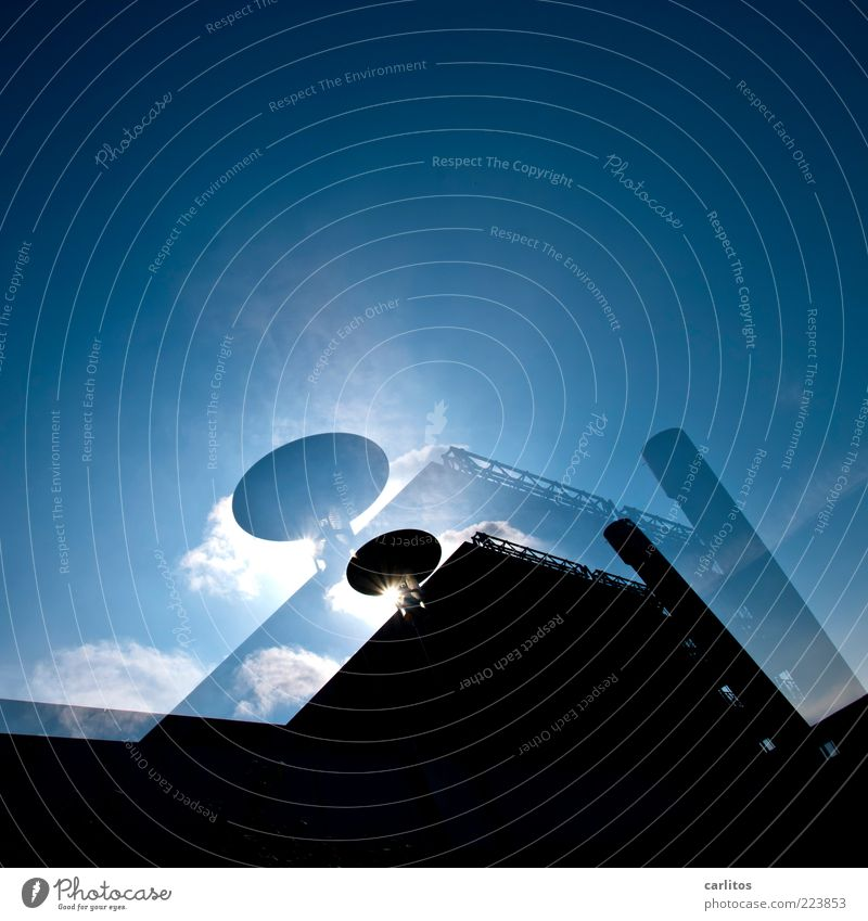 Sky Blue Sun Clouds Black House (Residential Structure) Cold Building Glittering High-rise Arrangement Perspective Esthetic Modern Threat