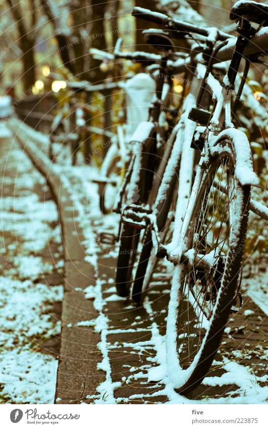 Winter Street Dark Cold Snow Snowfall Bicycle Places Ground Cobblestones Parking Bridge railing Curbside Pedal Bicycle saddle Bicycle handlebars