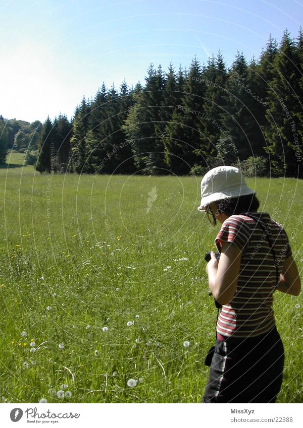 Woman Nature Flower Summer Vacation & Travel Forest Meadow Grass Spring Photography To go for a walk Camera Tourist Take a photo Fulda district Going