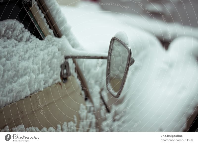 Mirror, mirror Winter Ice Frost Snow Means of transport Vehicle Car Freeze Cold White Side mirror Distorted Retro Old Vintage car Colour photo Subdued colour