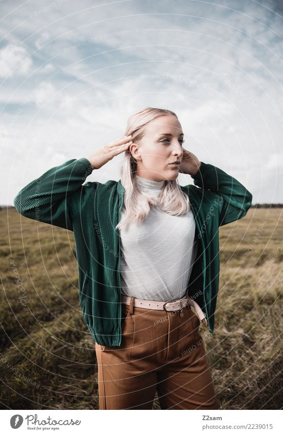 Sky Nature Youth (Young adults) Young woman Beautiful Landscape 18 - 30 years Adults Lifestyle Autumn Feminine Style Fashion Brown Dream Elegant