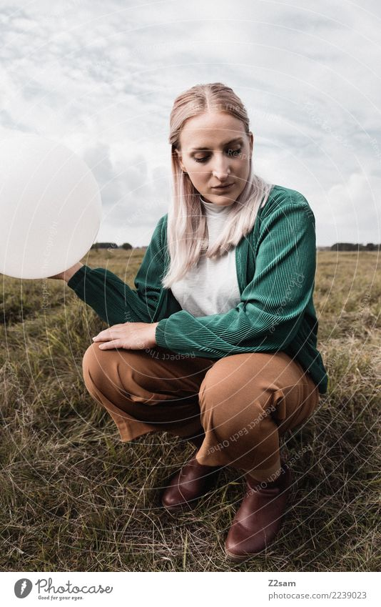 Sky Nature Youth (Young adults) Young woman Beautiful Green Landscape Loneliness 18 - 30 years Adults Lifestyle Autumn Sadness Meadow Feminine Style