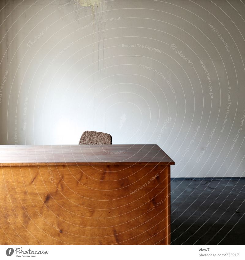 Old Loneliness Dark Wall (building) Office Wood Wall (barrier) Brown Room Design Elegant Table Empty Modern Esthetic Chair