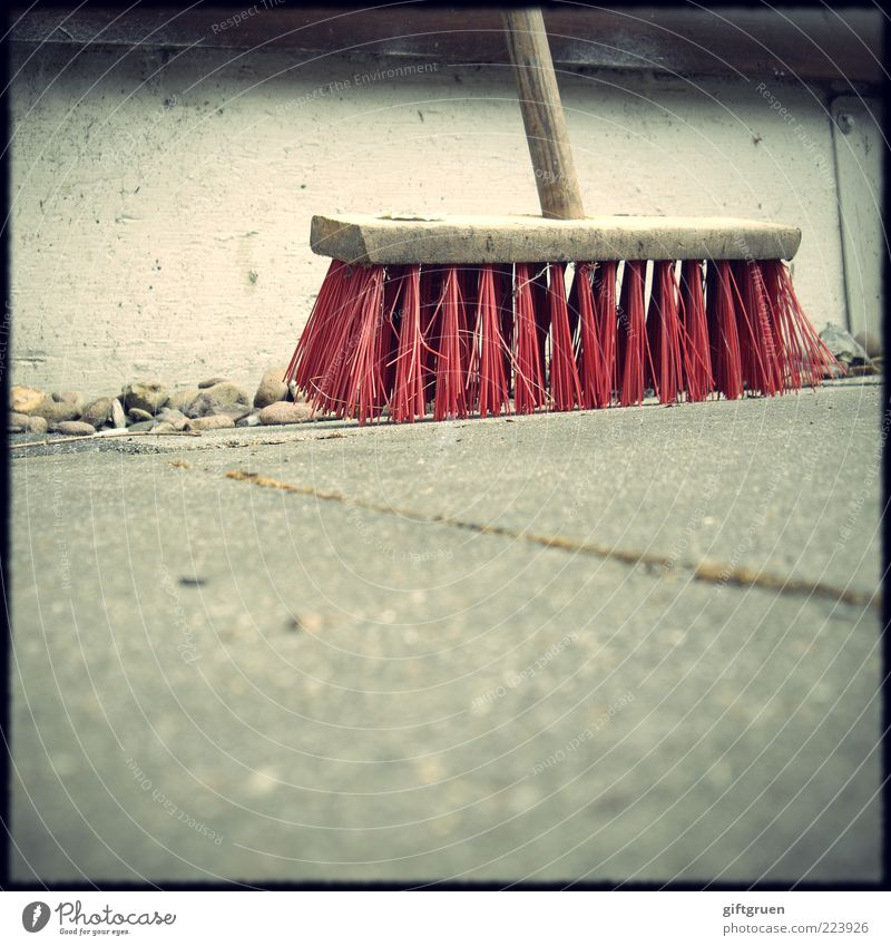 Old Red Work and employment Wall (building) Stone Wall (barrier) Dirty Concrete Perspective Clean Cleaning Gardening Broom Bristles Sweep
