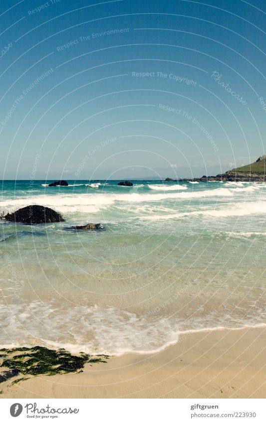 sun, beach and sea Environment Nature Landscape Elements Sand Water Sky Cloudless sky Summer Waves Coast Beach Bay Ocean Island Algae Rock Swell Surf