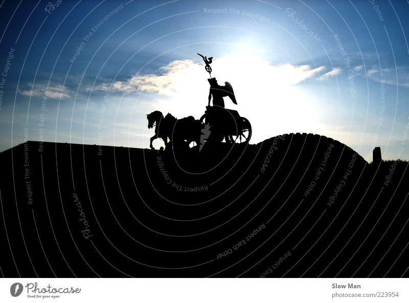 Sky Sun Clouds Dark Berlin Freedom Germany Power Horse Manmade structures Peace Historic Beautiful weather Monument Statue Landmark