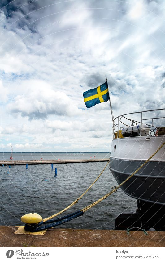 Sky Vacation & Travel Blue Ocean Clouds Calm Yellow Swimming & Bathing Gray Horizon Authentic Wind Wait Rope Logistics Baltic Sea